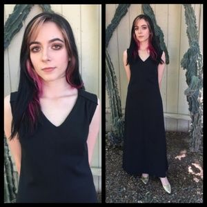 Pretty! Vtg 60s black V neck maxi dress!